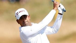 India's Anirban Lahiri in action during the practice round at Carnoustie.(REUTERS)