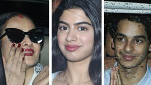 Rekha, Khushi Kapoor and Ishaan Khatter arrive at the special screening of Dhadak.(Viral Bhayani)