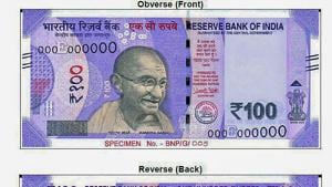 Specimen notes of new 100 rupee notes to be issued soon by the Reserve Bank of India (RBI).(PTI Photo)
