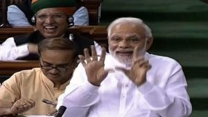 Prime Minister Narendra Modi speaks in the Lok Sabha on 'no-confidence motion' during the Monsoon Session of Parliament, in New Delhi on Friday, July 20, 2018.(PTI Photo)