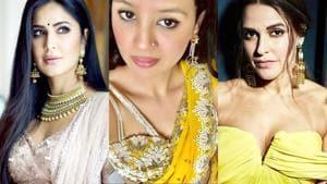 Katrina Kaif, Sakshi Dhoni, Neha Dhupia and other fashion-forward celebrities dressed to impress at Poorna Patel's wedding. See their lehengas and sarees below. (Instagram)