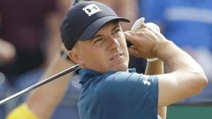 Jordan Spieth plays a shot off the 3rd tee during the third round of the British Open Golf Championship in Carnoustie.(AP)