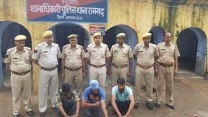 Three accused in the Alwar lynching case at the Ramgarh police station.(HT Photo)