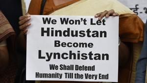 People protest against lynchings in the country, at Parliament street in New Delhi.(Burhaan Kinu/HT File Photo)