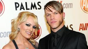 Adult film actress Stormy Daniels (left) with her husband Brendon Miller at the 28th annual Adult Video News Awards Show at the Palms Casino Resort in Las Vegas, Nevada.(AFP File Photo)