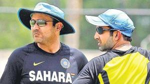 Openers Virender Sehwag and Gautam Gambhir during trainnig session.(AFP photo)