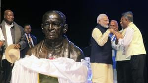Prime Minister Narendra Modi after unveiling a bust of Sardar Patel in Uganda capital Kampala on Tuesday.(AP photo)