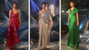 Staying true to his signature style of structured outfits with geometric designs, Amit Aggarwal's collection stood out for his take on the ever-popular saree gown.