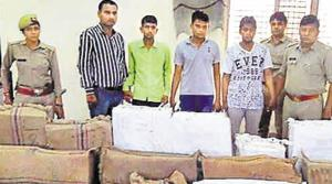 Police said the truck driver had allegedly taken the vehicle towards a hideout of the gang and handed over the cellphones to them.(HT Photo)