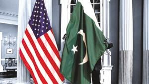 File photo of US and Pakistan national flags at the State Department in Washington.(REUTERS)