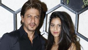 Shah Rukh Khan with daughter Suhana Khan. She is his only daughter.(HT Photo)