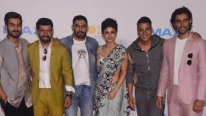 Akshay Kumar, Mouni Roy, Kunal Kapoor, Vineet Singh among other actors of the upcoming film, Gold in Mumbai on Wednesday.(Viral Bhayani)