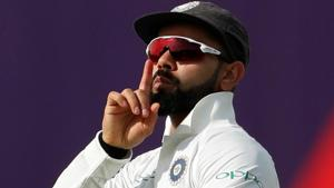 Virat Kohli celebrates after dismissing Joe Root on Day 1 of the first Test between India and England at Edgbaston.(Action Images via Reuters)