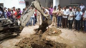 Thje site where a rape victim was allegedly buried at a government-run shelter home in Muzaffarpur.(PTI)