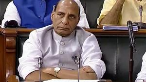 Home minister Rajnath Singh in Lok Sabha during the Monsoon session of Parliament, in New Delhi.(PTI File Photo)