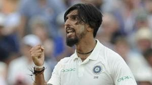 shant Sharma celebrates the dismissal of England's Stuart Broad during the third day of the first test cricket match between England and India at Edgbaston.(AP)
