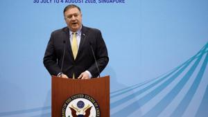 US secretary of state Mike Pompeo speaks during a news conference at the ASEAN Foreign Ministers' Meeting in Singapore on August 4.(REUTERS)