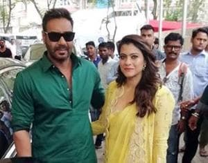 Kajol with Ajay Devgn at Helicopter Eela trailer launch.