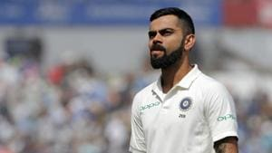 India's captain Virat Kohli reacts on the field after the game ends on the fourth day of the first Test cricket match between England and India at Edgbaston in Birmingham(AFP)