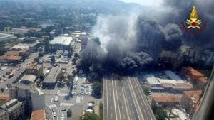 A general view of the motorway after an accident caused a large explosion and fire at Borgo Panigale, on the outskirts of Bologna, Italy.(REUTERS)