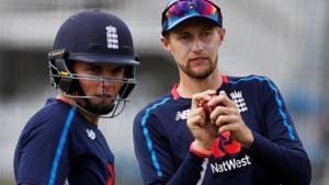 England's Joe Root and Sam Curran during nets ahead of the second Test against India at Lord's.(Action Images via Reuters)