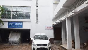 The sealed campus of Muzaffarpur short stay home where girls were alleged sexually abused. On the left is the office and printing press of prime accused Brajesh Thakur's Hindi paper.(Santosh Kumar/ HT Photo)