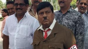 Telegu Desam Party MP and former actor Naramalli Sivaprasad dressed up as Adolf Hitler in Parliament.(ANI Twitter)