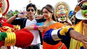 Deepika Padukone and Shah Rukh Khan in a still from Chennai Express.