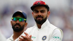 Virat Kohli celebrates after the wicket of England's Ben Stokes.(Action Images via Reuters)