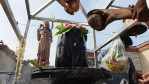 A Shivlinga was found desecrated in a temple in village Hasanpur in Shamli district on Wednesday following which devotees held protests over the incident, police said.(Representative Image/HT Photo)
