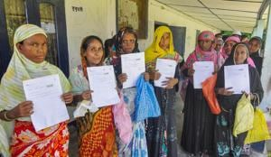 People queue at the office to verify and check their names in the final draft of the National Register of Citizens (NRC), at Morigoan on Saturday, Aug 4, 2018(PTI)