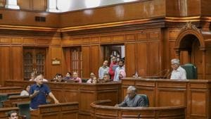 Delhi deputy chief minister Manish Sisodia speaks in the State Assembly on the second day of its Monsoon session, in New Delhi on Tuesday, Aug 7, 2018.(PTI)