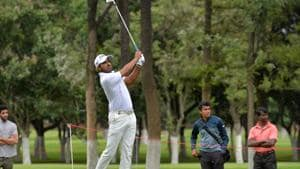 Khalin Joshi of India looks on after playing a shot during the penultimate day of Take Solutions Masters, Asian Tour Championship held at the Karnataka Golf Association in Bangalore on August 11, 2018.(AFP)