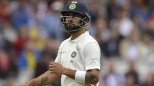 Virat Kohli leaves the pitch after he is caught by England's Ollie Pope off the bowling of England's Stuart Broad.(AP)