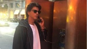 Shah Rukh Khan at the payphone, perhaps calling his little son, Abram.(Instagram)