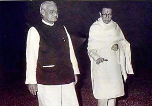 Atal Bihari Vajpai and Bal Thackery(Photo credit: Bal Keshav Thackeray, A Photobiography)
