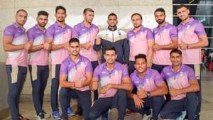 New Delhi: Indian Kabaddi team led by Ajay Thakur pose for a photo ahead of their participation in 6-nation Kabaddi Masters to be held in Dubai, in New Delhi on Tuesday, June 19, 2018.(PTI)