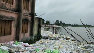 A school on the banks of Kosi river in Nauhatta of Bihar's Saharsa district.