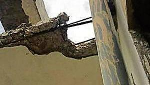 The residents said that two instances of collapsing of upper layer (plasters) of walls in balconies have led to panic in the society.(HT Photo)