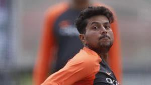Kuldeep Yadav bowls during a training session.(AP)