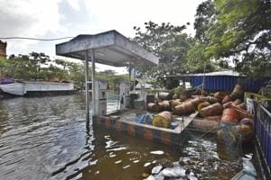 A view of a submerged petrol pump at Alappuzha district, Kerala, August 22(Raj K Raj/HT PHOTO)