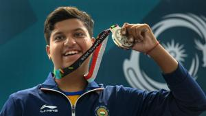 Palembang: Indian shooter Shardul Vihan celebrates after winning silver medal in Men's Double Trap event.(PTI)