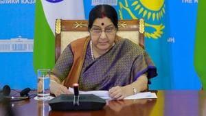 External affairs minister Sushma Swaraj in Astana.(PTI File Photo)
