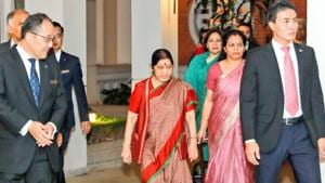 External affairs minister Sushma Swaraj on Sunday might arrived at the Vietnamese capital, Hanoi, on the first leg of her four-day two-nation tour, which aims at deepening India's strategic cooperation with Vietnam and Cambodia.(Raveesh Kumar/Twitter)