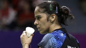 Saina Nehwal in action during Asian Games 2018 semifinal match against Tai Tzu Ying.(AP)