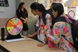 The annual mental health-themed festival at VG Vaze College in Mulund features Spin the Wheel, which offers positive suggestions like 'Go on a walk with a friend' and 'Eat healthy meals' to beat stress.