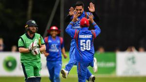 Afghanistan players celebrate the fall of a wicket during the first ODI against Ireland in Belfast.(Twitter/ICC)