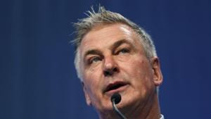 Actor Alec Baldwin speaks during the Iowa Democratic Party's Fall Gala in Des Moines, Iowa.(AP)