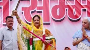 Rajasthan Chief Minister Vasundhara Raje during Women Shakti Conference in 'Rajasthan Gaurav Yatra', in Jaisalmer on Friday, Aug 24, 2018.(PTI)
