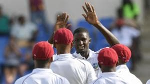 Jason Holder (3L) will lead West Indies on their tour of India.(AFP)